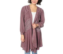 NEW Indigo Thread Co Woven Cascading Open Front Cardigan wit