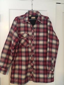 NWOT Mens Backpacker Red Plaid Long sleeve Lined Flannel Shi