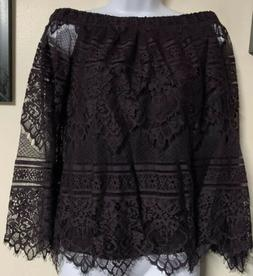 NWT Apt 9 Purple Lace Off The Shoulder Bell Sleeve Shirt Top