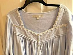 NWT Eileen West L Long Cotton Flannel Nightgown Periwinkle L