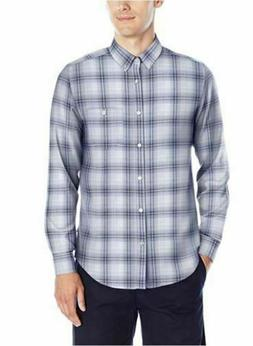 NWT CALVIN KLEIN MEN'S LONG SLEEVE SHIRT WHITE/PLAID XXL BUT