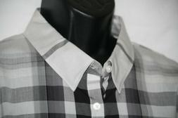 NWT Calvin Klein XXL Plaid Long  Sleeve shirt w Hidden Butto