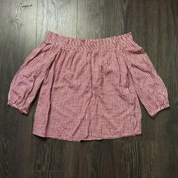 Old Navy Off The Shoulder Red Checkered Gingham Print Top Si