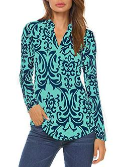 Halife Women's Paisley Printed Long Sleeve Henley V Neck Ple