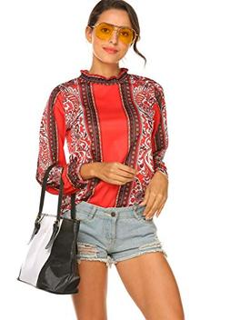 Women's Paisley Printed Long Sleeve Pleated Casual Flare Tun