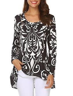 Halife Womens Paisley Printed Pleated Tunic Shirt Long Sleev