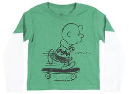 Peanuts Charlie Brown Layered Long Sleeve Shirt Snoopy Tee T