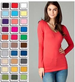 Womens Plus Size V Neck T Shirt Layering Long Sleeve Active