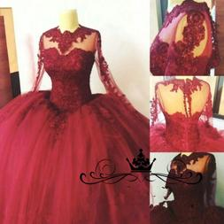Plus Size Victorian Burgundy Ball Gown Sweet 16 Quinceanera