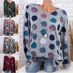 Plus Size Womens Polka Dot Long Sleeve Blouse Ladies Loose B