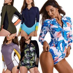Plus Size Womens Zip Up Long Sleeve Rash Guard Surf Shirts S