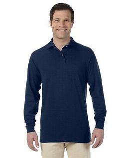 Jerzees Polo Shirt 5.6 oz 50/50 Men's Long Sleeve Jersey wit