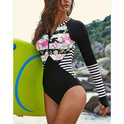 Quick Dry Long Sleeve One-Piece Diving Surfing Swimsuit Swim