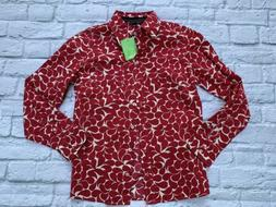 Boden Red White Long Sleeve Button Down Shirt Printed Leaf F
