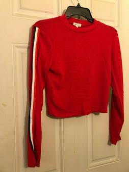 Red Medium Long Sleeve Crop Top w. Red, White & Blue Striped