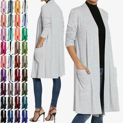 TheMogan S~3X Casual Long Sleeve Pocket Open Front Jersey Kn