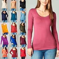 Scoop Neck Basic Long Sleeve T-Shirt Solid Cotton Stretch Wo