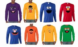 SESAME STREET FACES LONG SLEEVE T-SHIRT ELMO,COOKIE,BIG BIRD