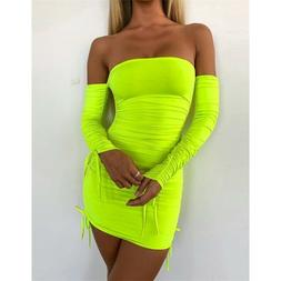 Sexy Bodycon Dress Neon Green Ruched Off Shoulder Long Sleev