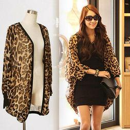 Sexy Long Sleeve Leopard Print Batwing Blouse For Women Chif