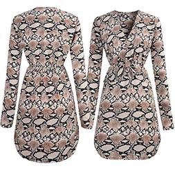 Gallity Womens Sexy Slim Snake Print Dress Long Sleeve Party