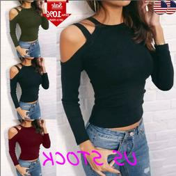 Sexy Women's Ladies Halter Cold Shoulder Slim Fit Long Sleev