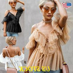 Sexy Women's Ruffles Short Sleeve Top T Shirt Blouse Tee Fas