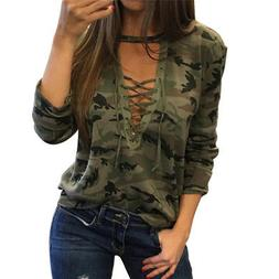 Sexy Women V-Neck Lace Up Camo T-Shirt Long Sleeve Casual Lo