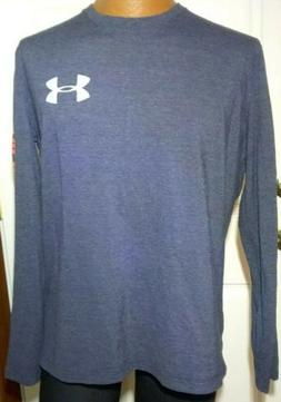 Under Armour Shirt Mens Medium Blue Heat Gear Loose Long Sle
