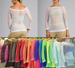 Size 0-8 SEXY WOMEN SHEER Stretch LONG SLEEVE Fishnet TOP CL