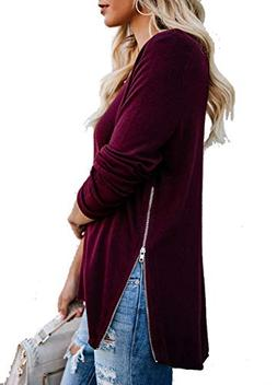 Slit Top, Women Zip Up Long Sleeve Shirt Pullover Tunic Hip