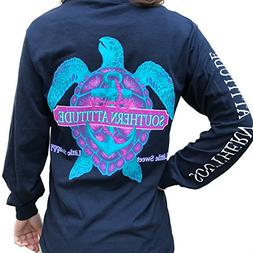 Southern Attitude Snappy Turtle Navy Long Sleeve Shirt