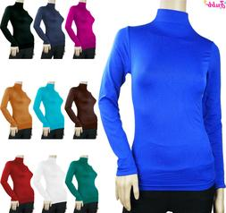 SOFT SEAMLESS STRETCH LONG SLEEVE SHIRT TURTLENECK MOCK HIGH