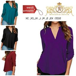 Solid Color V Neck Tunic Shirt Top New Women Casual Chiffon