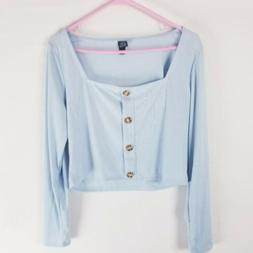 Wild fable square neck long sleeve cropped knit Top baby blu