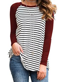 Women's Striped Solid Raglan Long Sleeve Sports Tunic T Shir