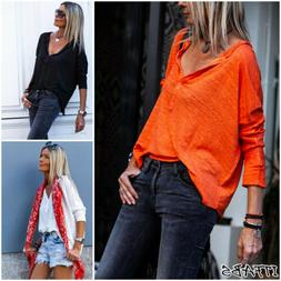 Summer Women V Neck Casual Loose Long Sleeve Blouse Cotton L