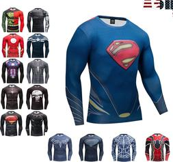 Superman Long Sleeve T-shirt Men's Compression Gym Fitness S