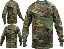 Tactical Long Sleeve Camo Tee Mens Woodland Camouflage Milit