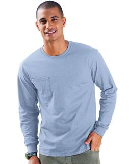 Hanes Tagless Long Sleeve T-Shirt with a Pocket- Light Blue