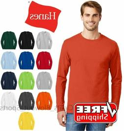 d1965d1e Hanes Tagless Long Sleeve T-Shirt Comfort Cotton Soft Plain