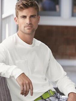 Hanes - Tagless Long Sleeve T-Shirt with a Pocket - 5596