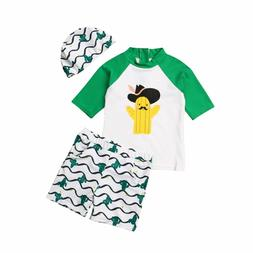 Toddler Girl Boy Cactus Tops Pants Hat Swimwear 3pcs Outfit
