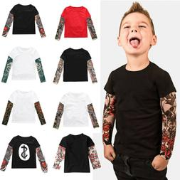 Toddler Kids Baby Boys Girls Tattoo Print Long Sleeve T-shir