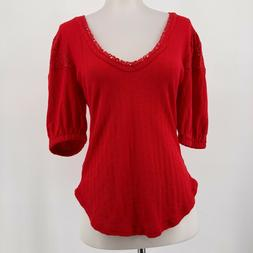 Free People Top Solid Red Short Puff Sleeve V Neck Lace Deta