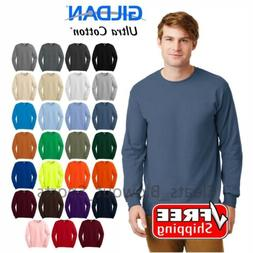 Gildan Ultra Cotton Long Sleeve T-Shirt Heavy Weight Mens Th