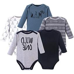 Yoga Sprout Unisex Baby Cotton Bodysuits, Wild One 5Pk Long
