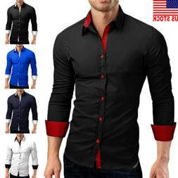 US Mens Long Sleeve Shirt Button Up Business Work Smart Form