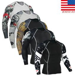 us stock men compression printed long sleeve