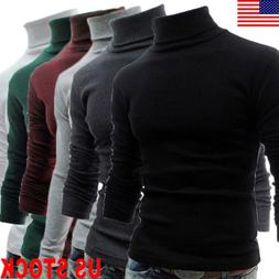 US STOCK MENS ROLL NECK LONG SLEEVE COTTON TOP HIGH & TURTLE